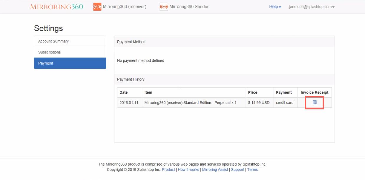 Generate an invoice for Mirroring360